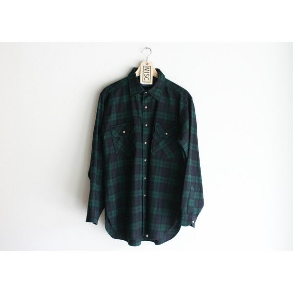 "Vintage Pendleton ""Black Watch Tartan"" Dark Green Flannel Shirt ($38) ❤ liked on…"