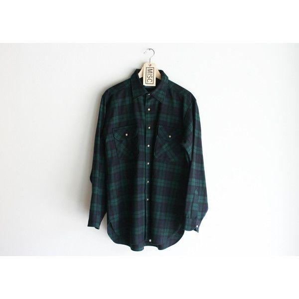 "Vintage Pendleton ""Black Watch Tartan"" Dark Green Flannel Shirt ($38) ❤ liked on Polyvore featuring tops, plaid top, tartan plaid flannel shirt, dark green shirt, vintage plaid shirt and dark green top"