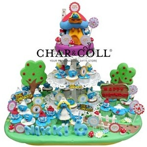 Smurf House White Tower Cake