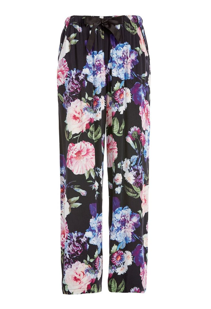 Winter Floral Wide Leg Pj Pant Select Colour: Multi Details Drift into the deepest of sweet slumbers in these women's PJ pants! Crafted from a comfy sateen, they feature a wide drapey leg, all over floral print, elasticised waistband, drawstring closure and twin side pockets. Line Number: 814556 Fabric: 100% Viscose Fabric Type: WOVEN VISCOSE SATEEN