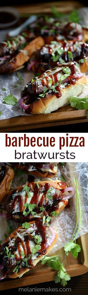 These Barbecue Pizza Bratwursts take all the flavors of your favorite pizza and reinvents them as toppings for your brat. A toasted bun is layered with grilled red onions and bratwurst before being drizzled with barbecue sauce covered in melted mozzarella cheese and sprinkled with cilantro.