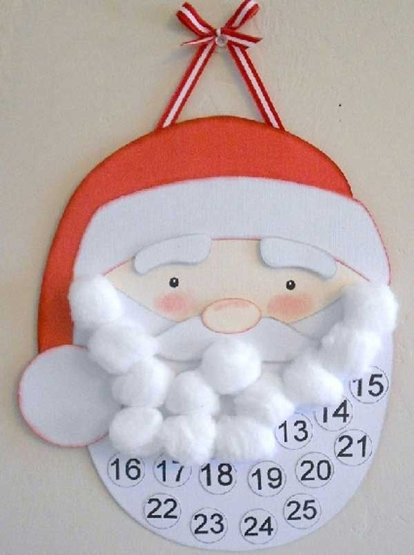 "Cute countdown for Christmas for kindergarten age group. Simple template and cheap cotton balls to give a finished product of a fluffy beard!!! Great project for "" llama llama holiday drama"" by Anna Dewdney"