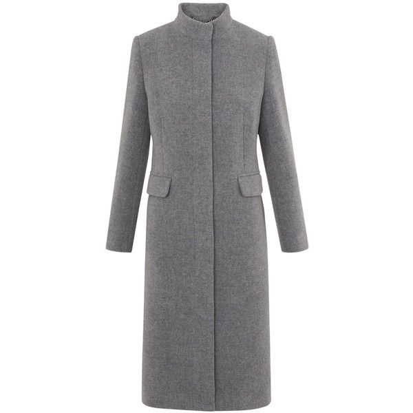 Whistles Funnel Neck Coat, Grey (6357405 BYR) ❤ liked on Polyvore featuring outerwear, coats, funnel collar coat, whistles coat, pattern coat, slim coat and grey coat