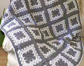 Crochet Afghan Gray  Squares  Handmade  Gift Houseware Christmas Gift Home Decor