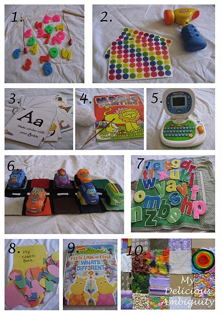 Busy bag ideas. My favorites:  1. Number magnets with fishing rods  2. Hammer and stickers: Let child put the stickers on a pillow or another soft surface and practice hitting the stickers.  8. Shape Collage Bag: Multicolored paper shapes and a gluestick