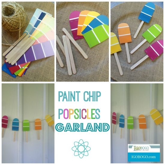 Fun and Easy craft for summer - Paint Chip Popsicles Garland!
