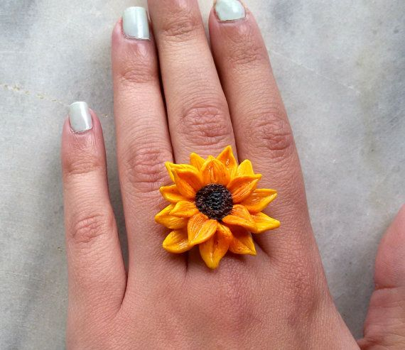 sunflower ring summer jewelry flower by jewelryfoodclay on Etsy