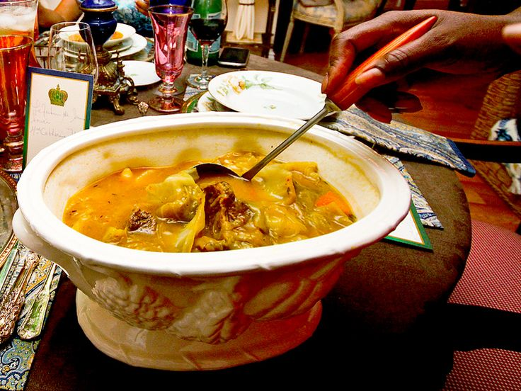 Soup Joumou  This savory pumpkin soup is served in Haiti on January 1, the anniversary of Haiti's liberation from France. It is said that the soup was once a delicacy reserved for white masters but forbidden to the slaves who cooked it. After Independence, Haitians took to eating it to celebrate the world's first and only successful slave revolution resulting in an independent nation.