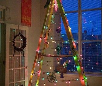 DIY Christmas Tree decoration made from a ladder and lights