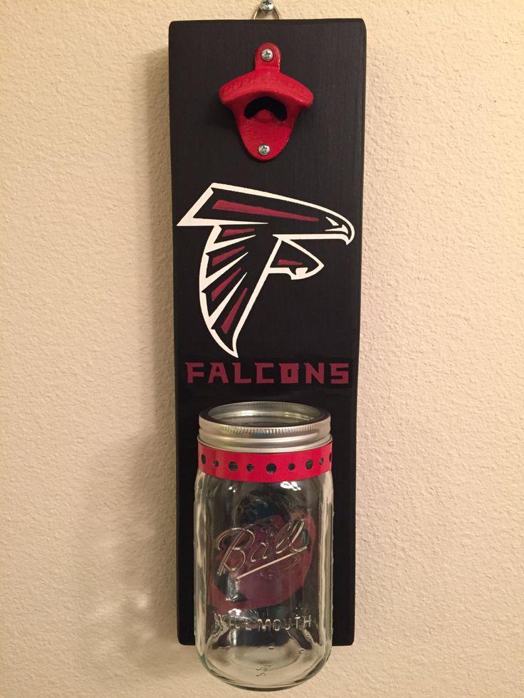 FALCONS Bottle Opener with Mason Jar Rustic Football ATLANTA FALCONS - pinned by pin4etsy.com