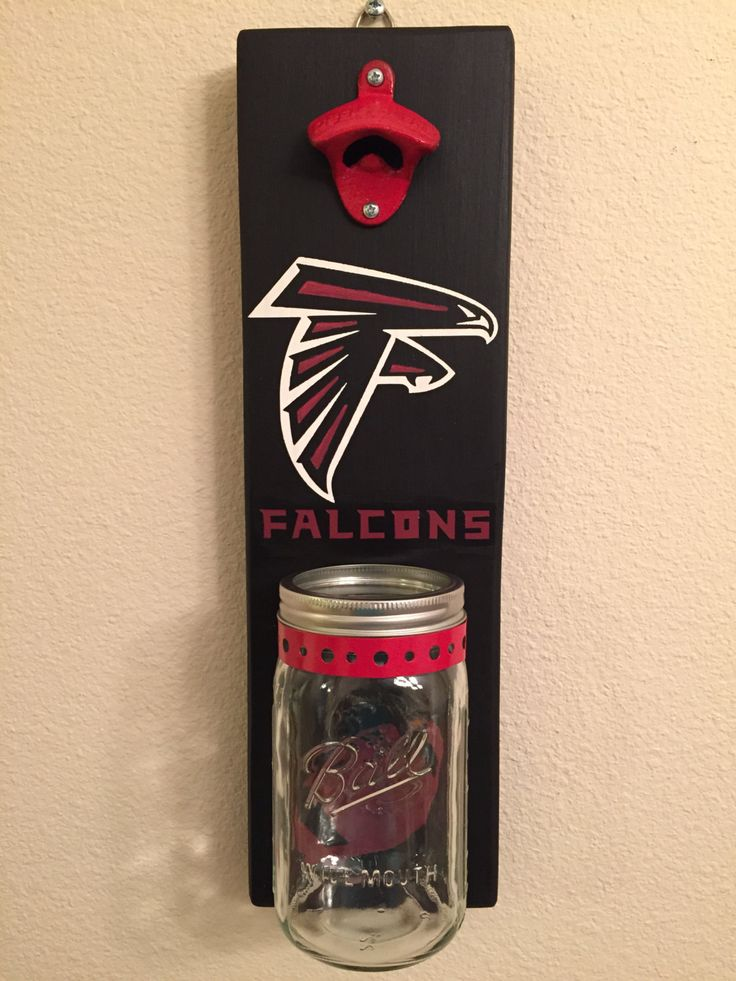 FALCONS Bottle Opener with Mason Jar Rustic Football ATLANTA FALCONS - pinned by pin4etsy.com