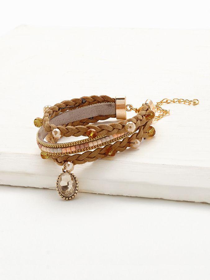 Shein Crystal Detail Woven Layered Bracelet