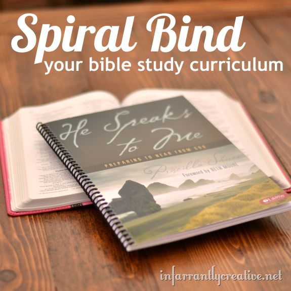 Take your softback books and get them spiral bound - whatever they may be. : ): Study Curriculum, Crafts Diy'S, Softback Book, Spirals Binding, Book Spirals, The Bible, Activities Book, Spirals Bound Bible Study Book, Offices Supplies