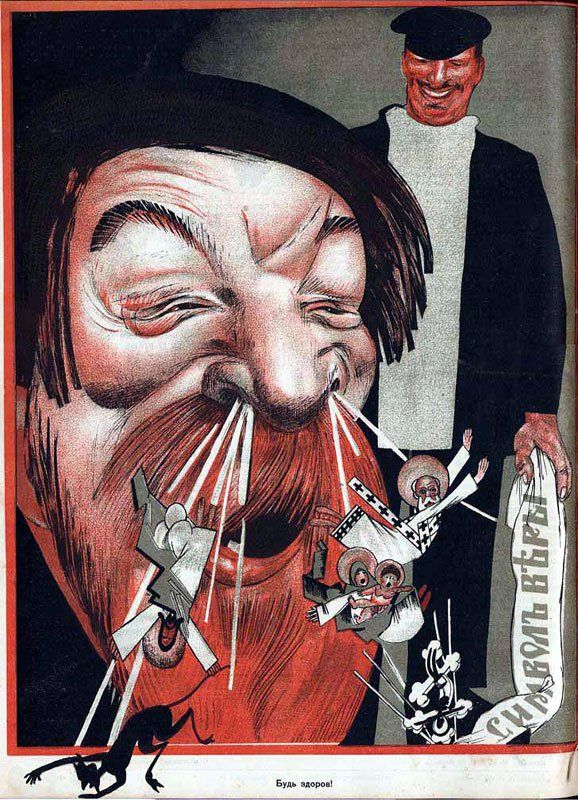 """Mikhail Cheremnykh: """"Gesundheit!"""" (1923) This poster from a 1923 issue of THE GODLESS showed how grossly offensive the antireligious campaign could be."""
