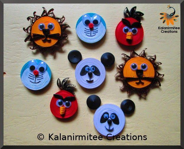 Quilled Cartoon Magnets - Visit http://www.kalanirmitee.com