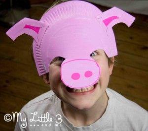 Papiertellermaske - Schwein - varkensmasker