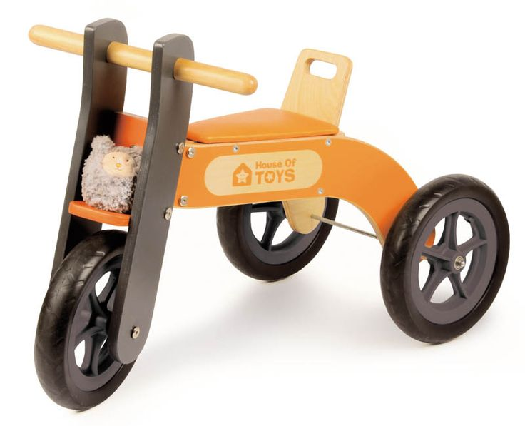 This wooden Ride on toy is a lot like a trike and a balance bike but it's neither. It's a three wheel riding toys that has no pedals. My son at 2 1/2 still can't get the pedal thing and he's not sure enough to keep his balance on a balance bike. This is the perfect intermediate level riding toy for him.