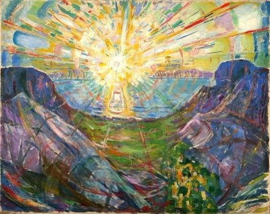 This reminds me of Power he make the sun look very power full. Made by Edvard munch