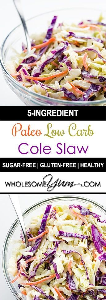 Paleo Low Carb Coleslaw (Sugar-free, Gluten-free) – 5 Ingredients - This sugar-free, paleo, low carb coleslaw recipe needs just 5 ingredients. Creamy, delicious, and you can make it in 5 minutes.