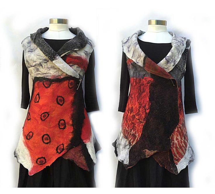 Nuno Felt Artist Vest, Merino Wool Women Vest ,Reversible vest ,Black Red White