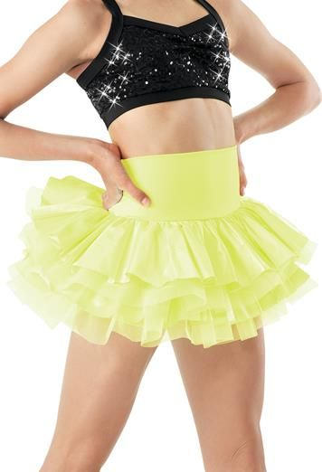 High Waisted Tiered Satin Skirt -- Fun party skirt for Snow White Costume.