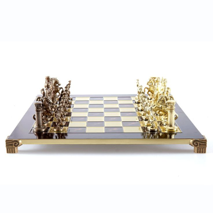 Chess Set  Greek Roman Period (Large) - Gold/Bronze - Handcrafted Metallic Chess red