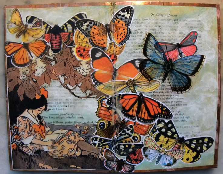 Altered Book spread in a Folio of William Hazlitt's essays. Collage; acrylic glazes; 1930s children's book illustration; vintage botanical illustrations of butterflies (some on paper, some packing ...