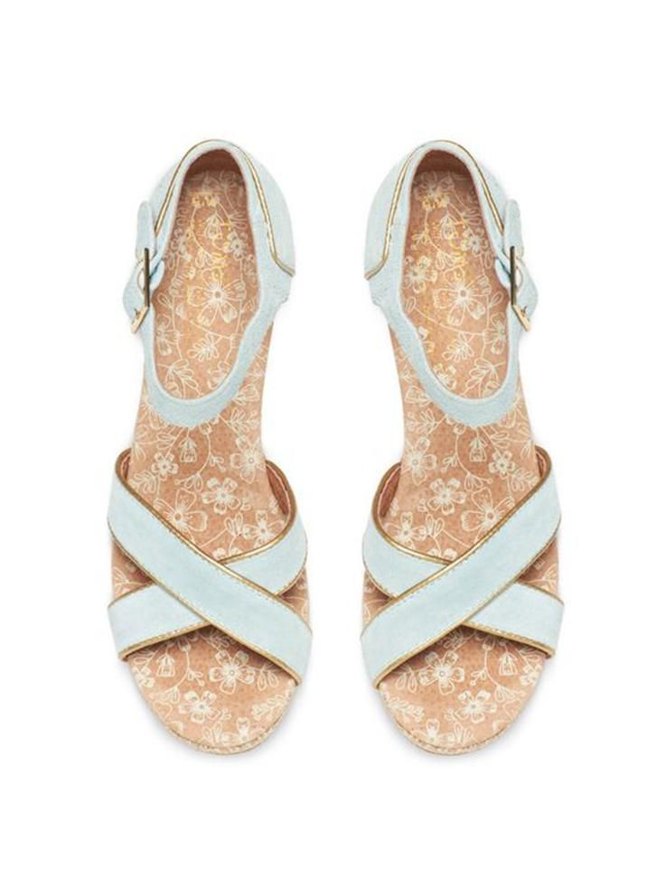 Light Blue Suede Gold Trim Women's Strappy Wedges | TOMS