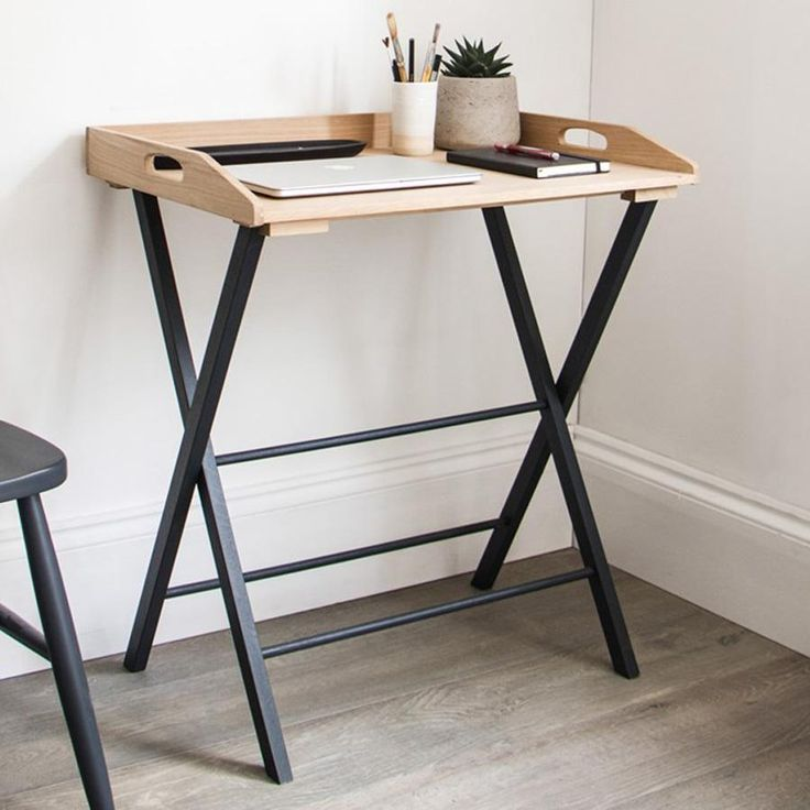 Oak Desk Tray Table in Carbon Black from The Farthing