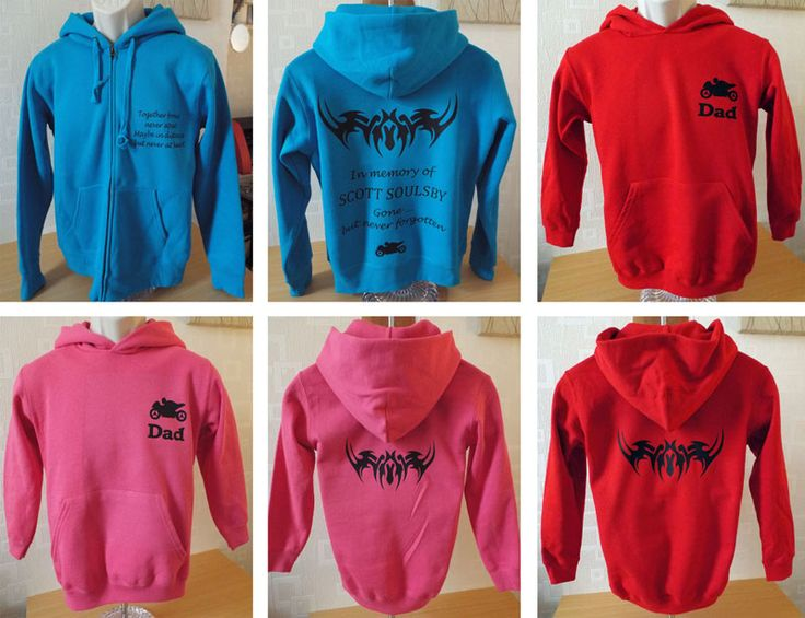 Hoodies created in rememberance from tattoos - adult and childrens.
