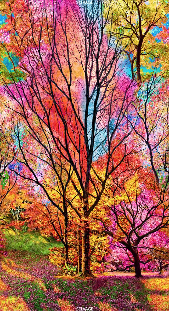 23″ Panel – Timeless Treasures – Large Scale Electric Forest – Sold by the Panel (23″ x 44″)