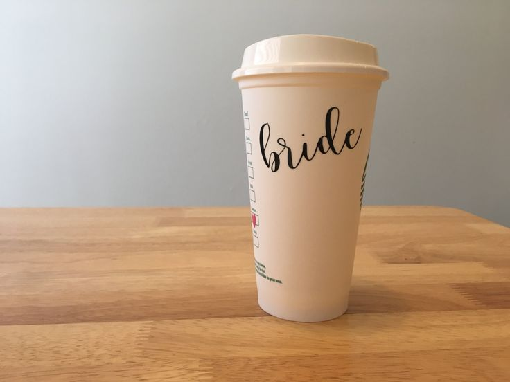 Bride reusable starbucks plastic cup / engagment gift under 10 / bridal / bride to be by AllYouNeedisLoveTX on Etsy
