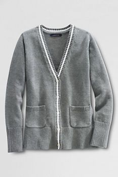 School Uniform Piped Cardigan Sweater from Lands' End