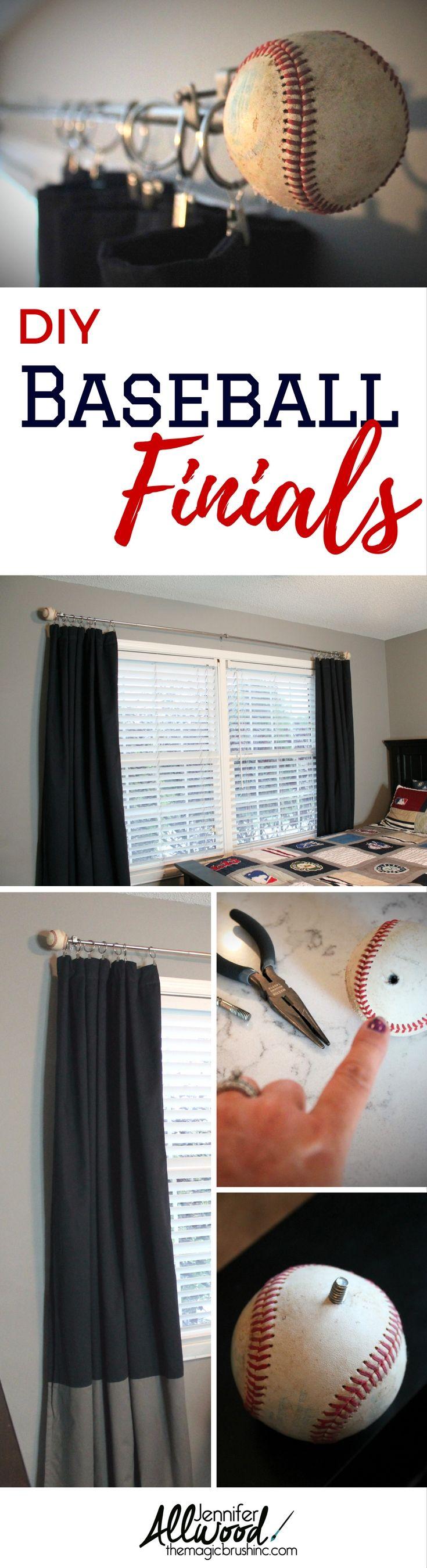 Nautical curtain rod finials - Baseball Curtain Rod Finials