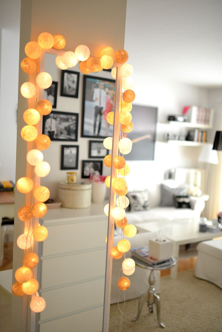Done! Looks beautiful! COTTON BALL LIGHTS on Charlize Mystery's mirror - http://charlize-mystery.blogspot.com/2013/04/deisgn-cotton-ball-lights.html