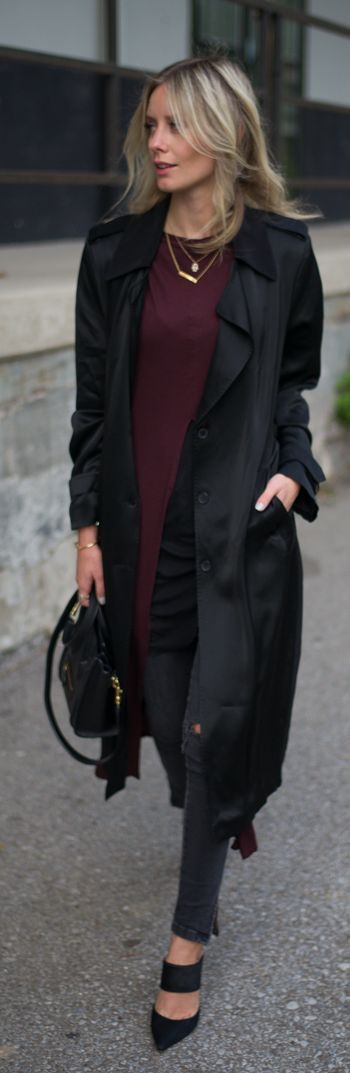 Lisa R V D Black And Burgundy Trench Crush Outfit Idea