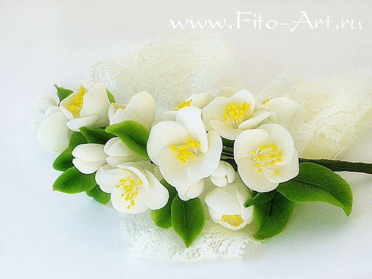 Украшения : Кружевная лента для украшения прически с цветущим жасмином - Fito Art