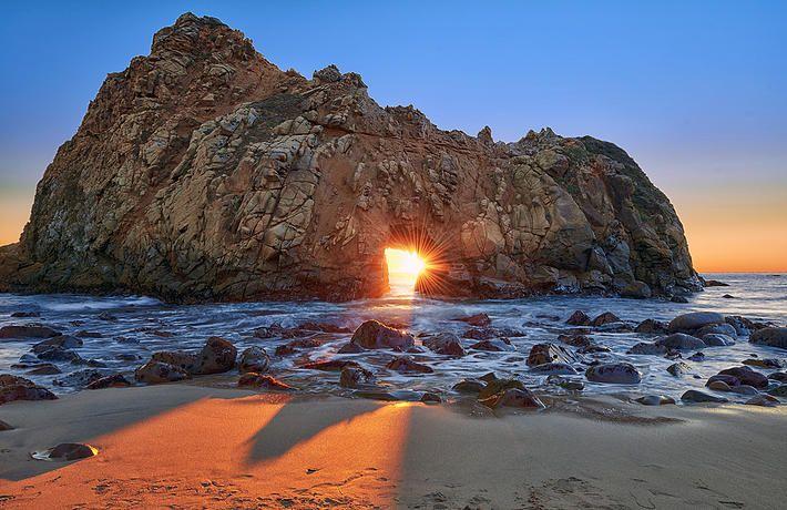 Famous rock at Pfeiffer Beach in Big Sur, California