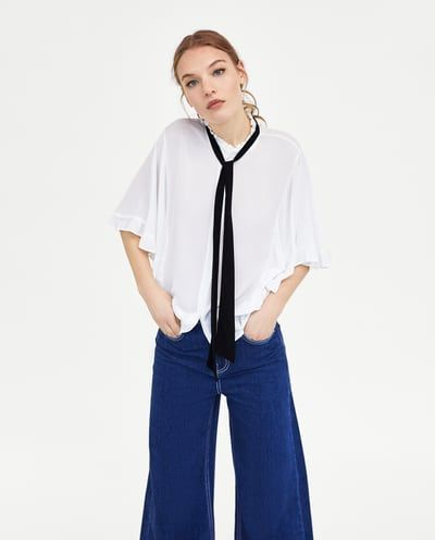 RUFFLED BLOUSE WITH BOW-View All-TOPS-WOMAN | ZARA Sweden