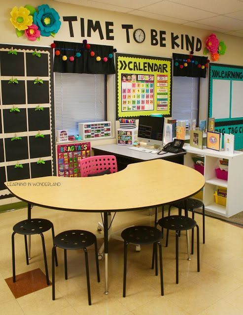 Love this classroom. The bright colors, big flowers (there not to much) the lights around the marker board, the garlands. It's simple, bright, and organized.