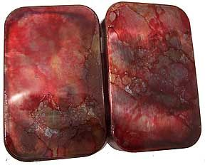 Using alcohol inks to create a polished stone effect on metal.