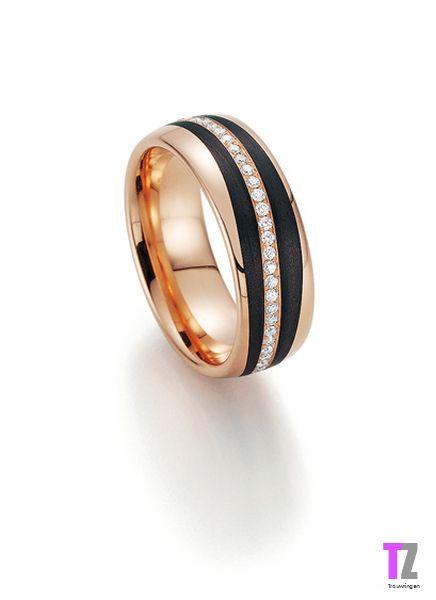 Roodgouden trouwring met Carbon rondom diamant.