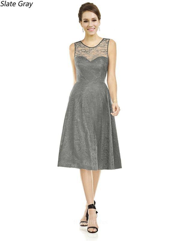 Shop Cheap A Line Illusion 2018 Short Tea Length Lace Slate Gray