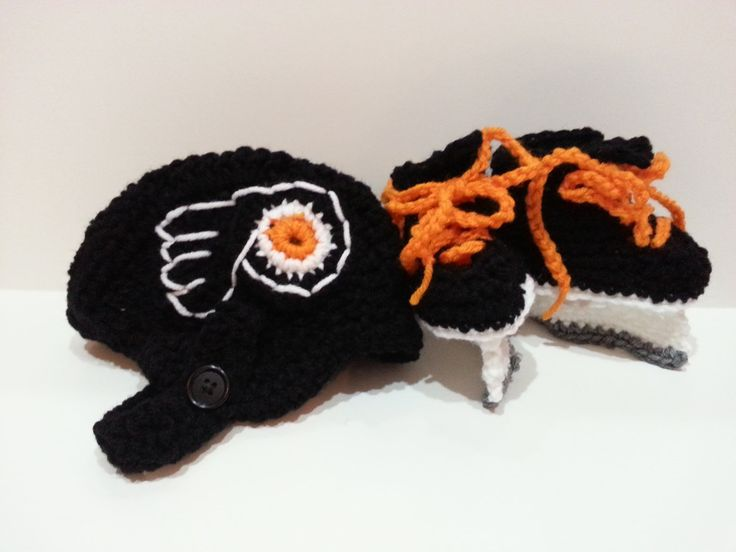 Philadelphia Flyers Helmet and Ice Skate Booties, NHL Flyers, Hockey Skates. $35.00, via Etsy.