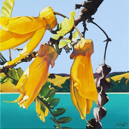 A limited edition of 200, this Giclée reproduction from a painting of Kowhai flowers, achieves superb colour with pigment-based inks on acid-free 308gsm Hahnemuhle Rag paper suitable for museum or gallery display.  Image size 316x316mm $269.00