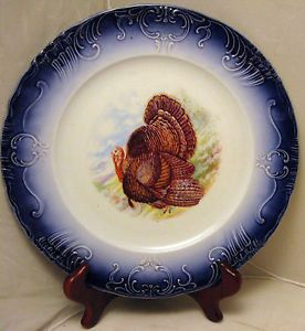 "10 1/8"" Antique La Belle China Flow Blue Turkey Plate Dish Thanksgiving Gobbler"