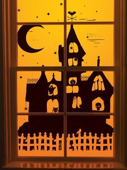 martha stewart crafts halloween window clings haunted house - Window Clings Halloween