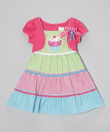 Fuchsia & Green Gingham Cupcake Dress - Infant & Toddler #zulily #zulilyfinds