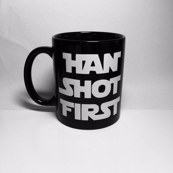 SALE Han Shot First Mug | Coffee | Tea | Handmade | Gift | Star Wars | Hans Solo | boyfriend | husband | cup | Greedo | geek | funny | nerd
