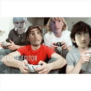Jack Eugene Kristoff & Hiccup i just love the idea of the boys hanging out and playing video games